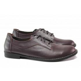 Равни дамски обувки - естествена кожа - бордо - EO-15774