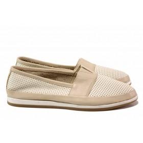 Равни дамски обувки - естествена кожа - бежови - EO-15788