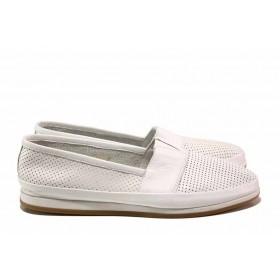 Равни дамски обувки - естествена кожа - бели - EO-15789