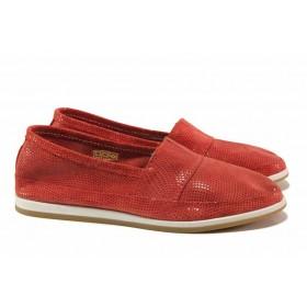 Равни дамски обувки - естествен набук - червени - EO-15790
