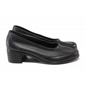 Дамски обувки на среден ток - естествена кожа - черни - EO-15815