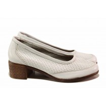 Дамски обувки на среден ток - естествена кожа - бели - EO-15814