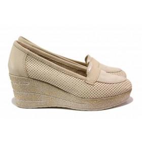 Дамски обувки на платформа - естествена кожа - бежови - EO-15797