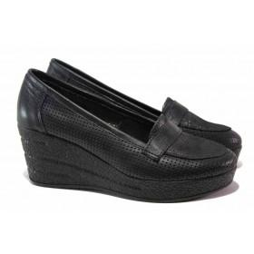 Дамски обувки на платформа - естествена кожа - черни - EO-15798