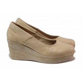Дамски обувки на платформа - естествена кожа - бежови - EO-15796