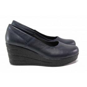 Дамски обувки на платформа - естествена кожа - тъмносин - EO-15795