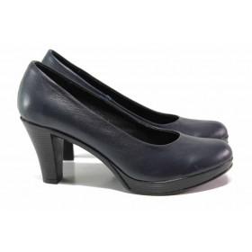 Дамски обувки на висок ток - естествена кожа - черни - EO-15816