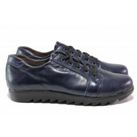 Равни дамски обувки - естествена кожа - тъмносин - EO-15783