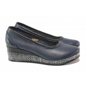 Дамски обувки на платформа - естествена кожа - тъмносин - EO-15793