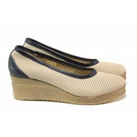 Дамски обувки на платформа - естествена кожа - бежови - EO-15792