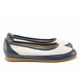 Равни дамски обувки - естествена кожа - тъмносин - EO-15780