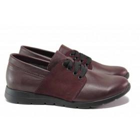 Равни дамски обувки - естествена кожа с естествен велур - бордо - EO-15777
