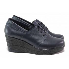 Дамски обувки на платформа - естествена кожа - тъмносин - EO-15755