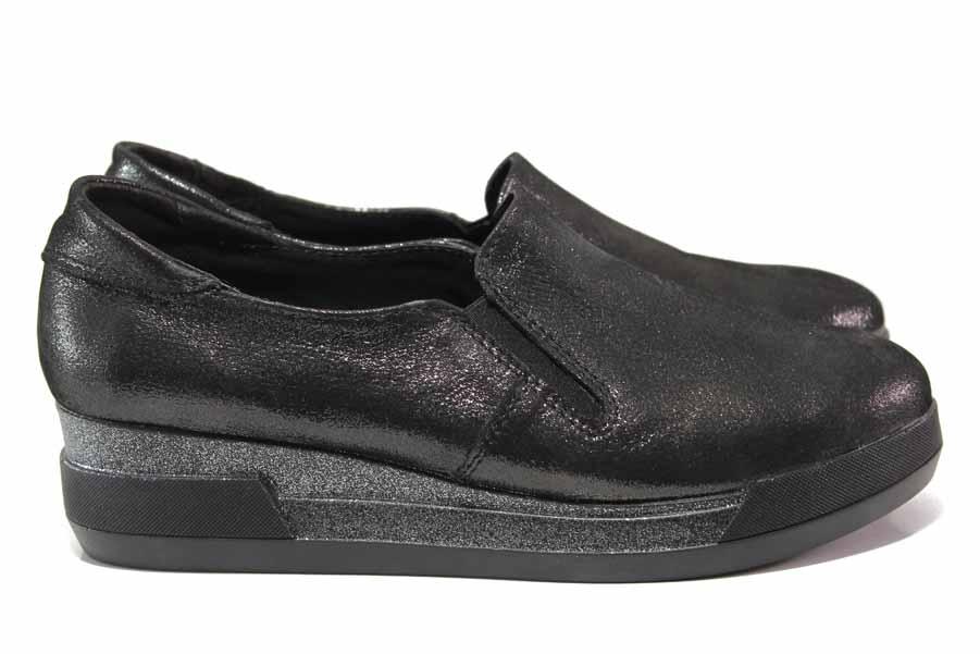 Дамски обувки на платформа - естествена кожа - черни - EO-15791