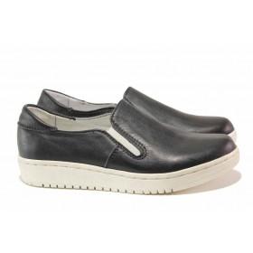 Равни дамски обувки - естествена кожа - черни - EO-15770