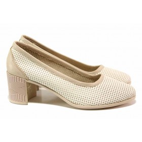 Дамски обувки на среден ток - естествена кожа - бежови - EO-15763