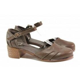Дамски обувки на среден ток - естествена кожа - кафяви - EO-15764
