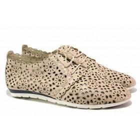 Равни дамски обувки - естествена кожа - бежови - EO-15767