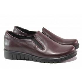Равни дамски обувки - естествена кожа - бордо - EO-15766