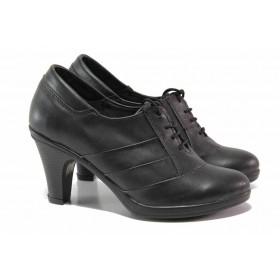 Дамски обувки на среден ток - естествена кожа - черни - EO-15758