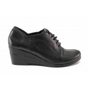 Дамски обувки на платформа - естествена кожа - черни - EO-15750