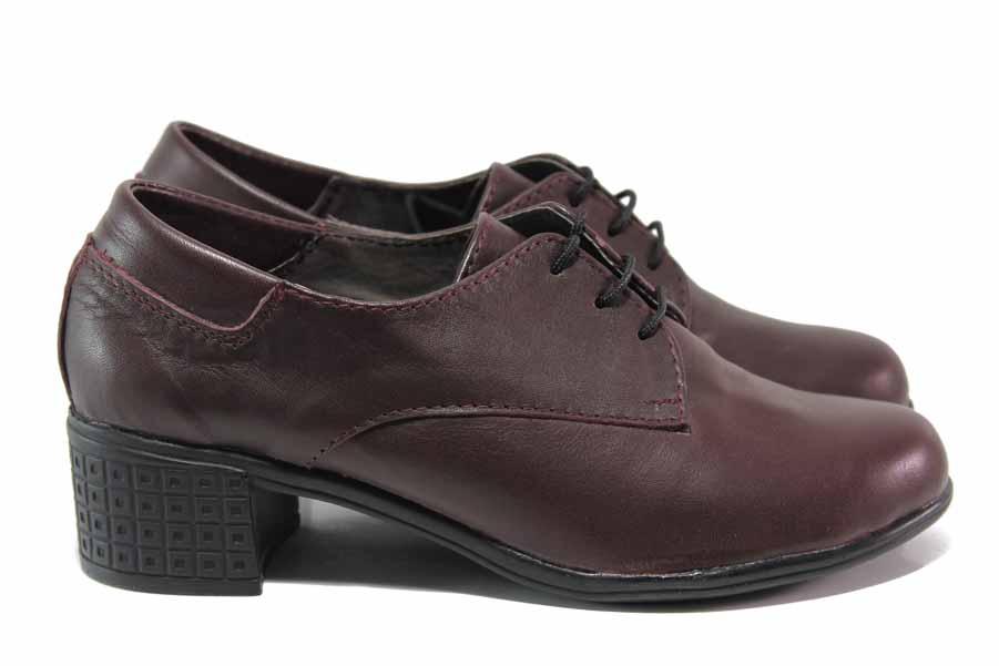 Дамски обувки на среден ток - естествена кожа - бордо - EO-15760