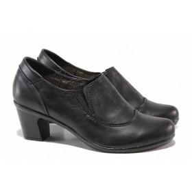 Дамски обувки на среден ток - естествена кожа - черни - EO-15759