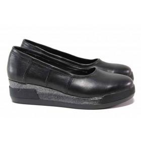 Дамски обувки на платформа - естествена кожа - черни - EO-15752