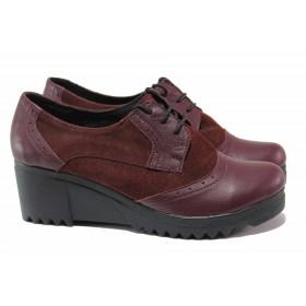 Дамски обувки на платформа - естествена кожа с естествен велур - бордо - EO-15748