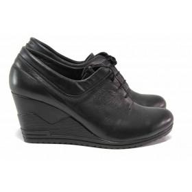 Дамски обувки на платформа - естествена кожа - черни - EO-15743