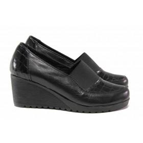 Дамски обувки на платформа - естествена кожа - черни - EO-15745
