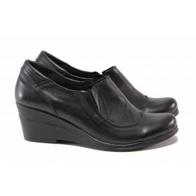 Дамски обувки на платформа - естествена кожа - черни - EO-15746