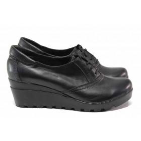 Дамски обувки на платформа - естествена кожа - черни - EO-15747
