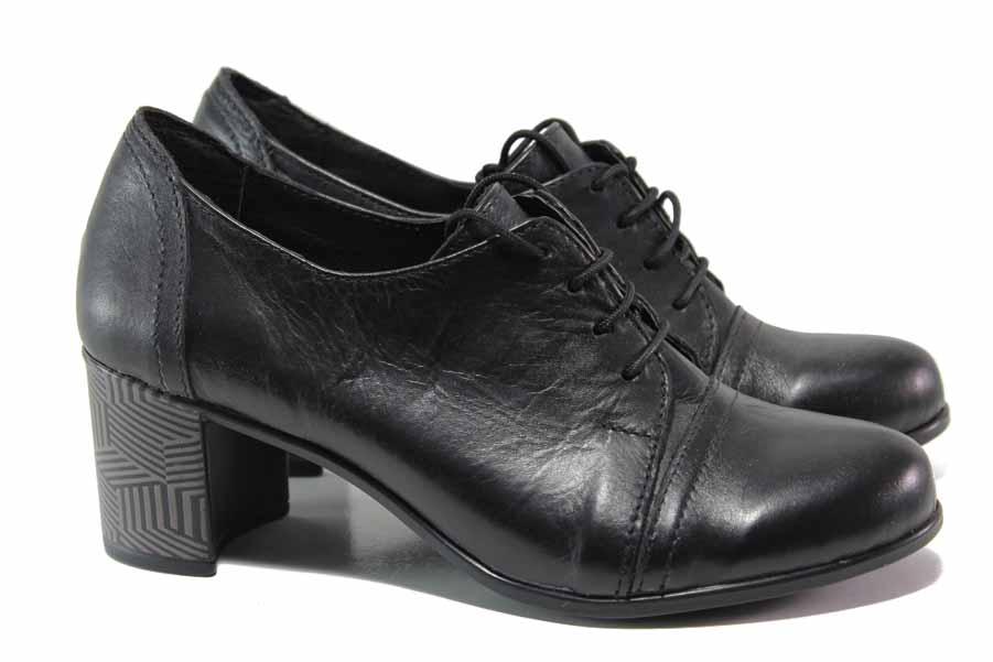 Дамски обувки на среден ток - естествена кожа - черни - EO-15757