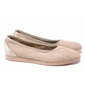 Равни дамски обувки - естествена кожа - розови - EO-15819