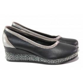 Дамски обувки на платформа - естествена кожа - черни - EO-15818