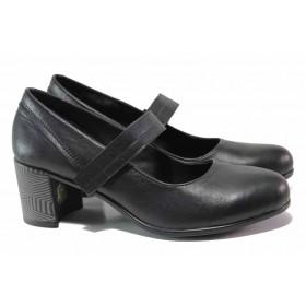 Дамски обувки на среден ток - естествена кожа с естествен велур - черни - EO-15830