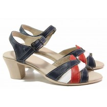 Дамски сандали - естествена кожа - сини - EO-15839