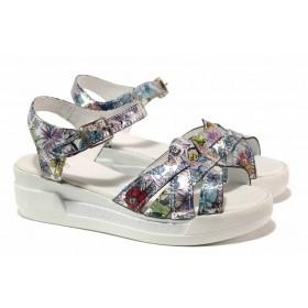 Дамски сандали - естествена кожа - бели - EO-15836