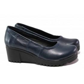Дамски обувки на платформа - естествена кожа - тъмносин - EO-15829