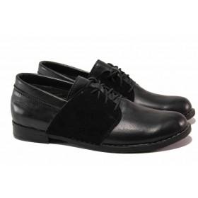 Равни дамски обувки - естествена кожа с естествен велур - черни - EO-15825