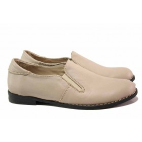 Равни дамски обувки - естествена кожа - бежови - EO-15827