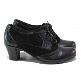 Дамски обувки на среден ток - естествена кожа с естествен велур - черни - EO-15831