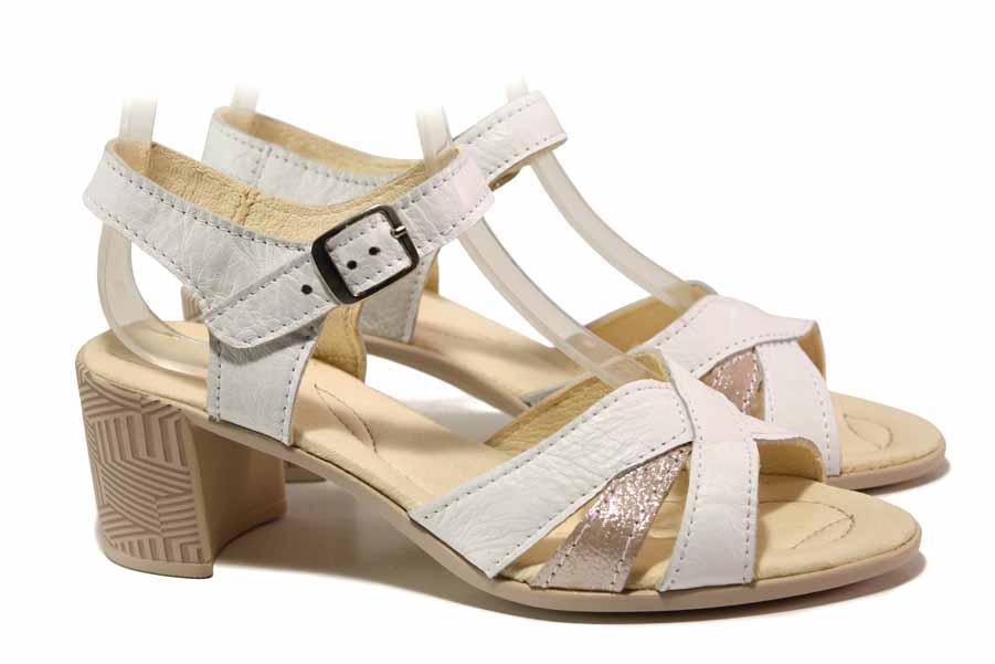Дамски сандали - естествена кожа - бели - EO-15877