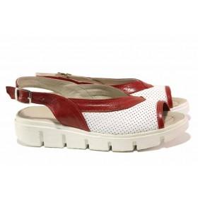 Дамски сандали - естествена кожа - бели - EO-15901