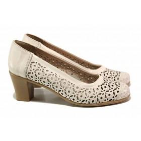Дамски обувки на среден ток - естествена кожа - бежови - EO-15952