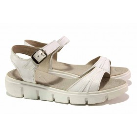 Дамски сандали - естествена кожа - бели - EO-15902