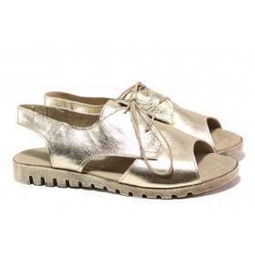 Дамски сандали - естествена кожа - жълти - EO-15903