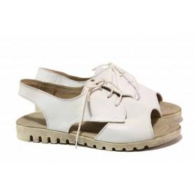 Дамски сандали - естествена кожа - бели - EO-15904