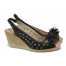 Дамски сандали - естествена кожа - черни - EO-15865